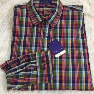 NWT Alan Flusser plaid long sleeve shirt
